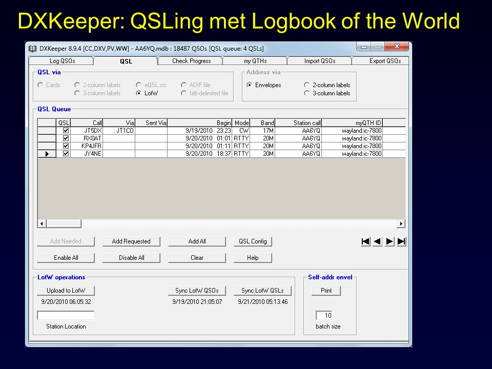 DXKeeper: QSLing met Logbook of the World
