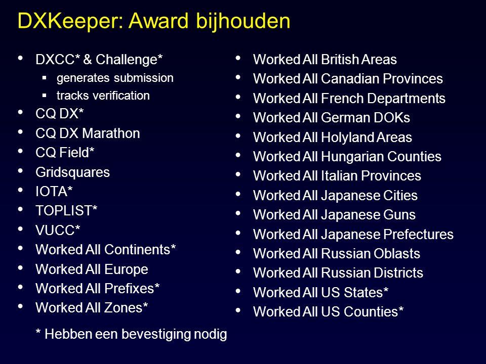 DXKeeper: Award bijhouden