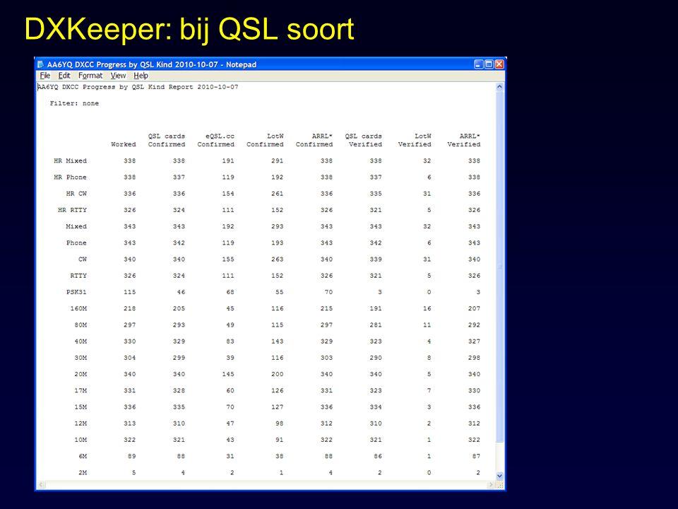 DXKeeper: bij QSL soort