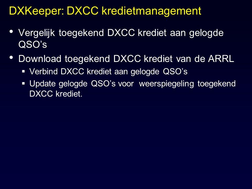 DXKeeper: DXCC kredietmanagement