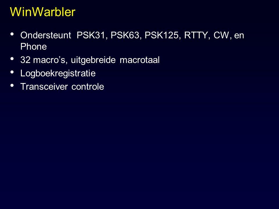 WinWarbler Ondersteunt PSK31, PSK63, PSK125, RTTY, CW, en Phone