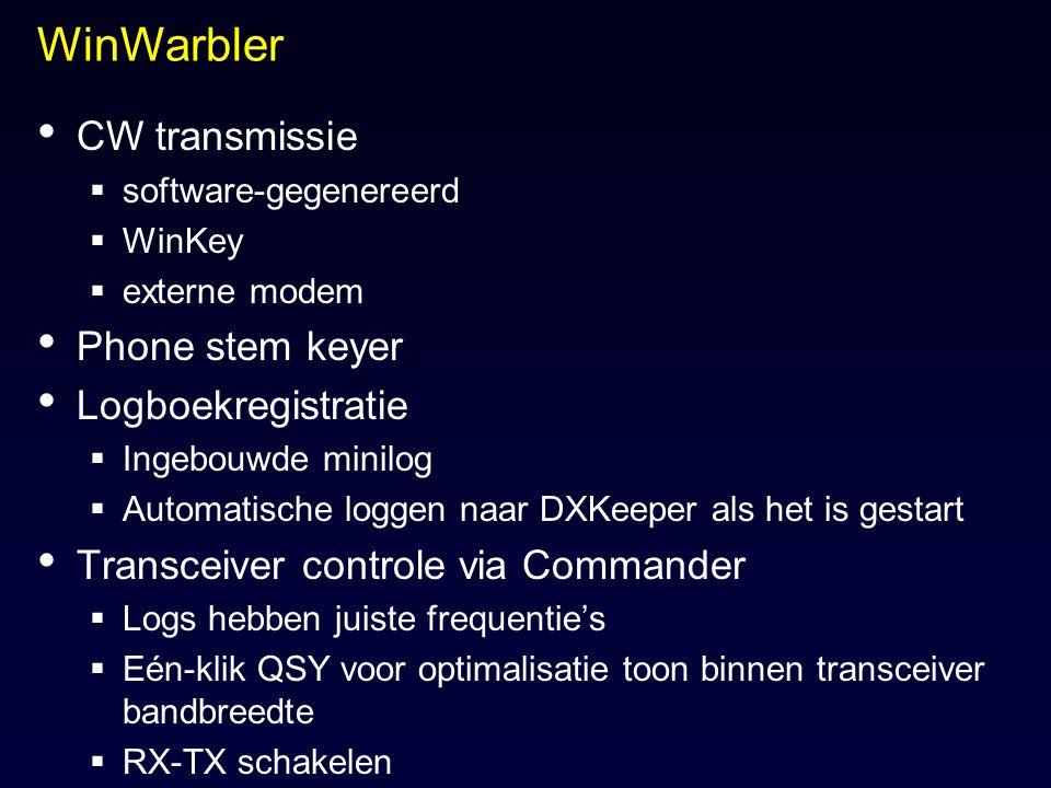 WinWarbler CW transmissie Phone stem keyer Logboekregistratie