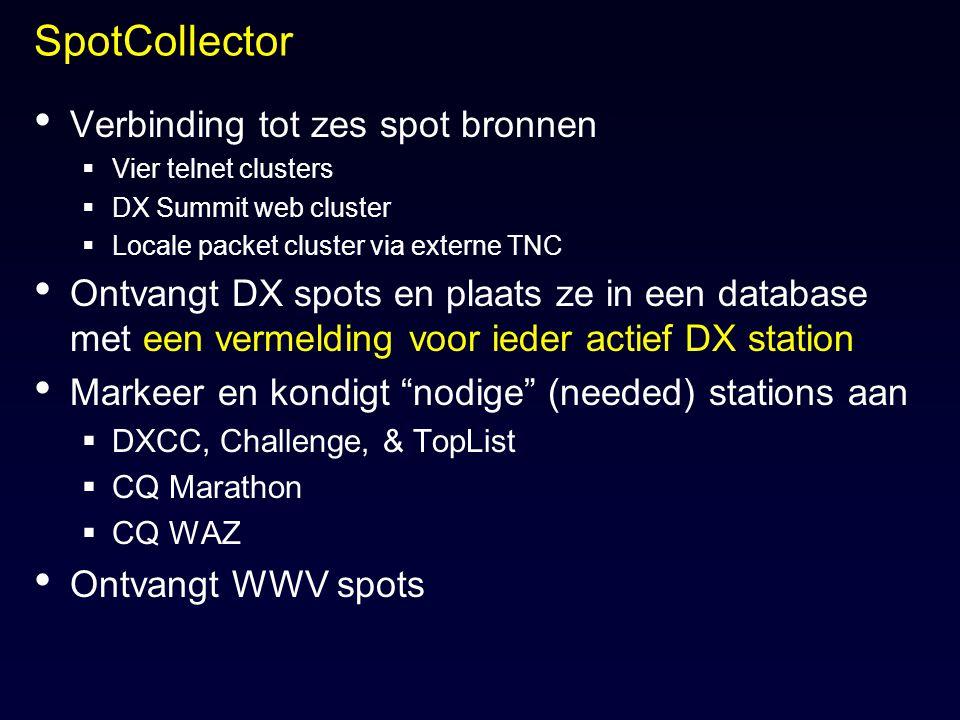 SpotCollector Verbinding tot zes spot bronnen