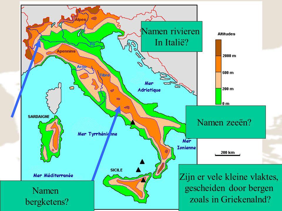 relief Namen rivieren In Italië Namen zeeën