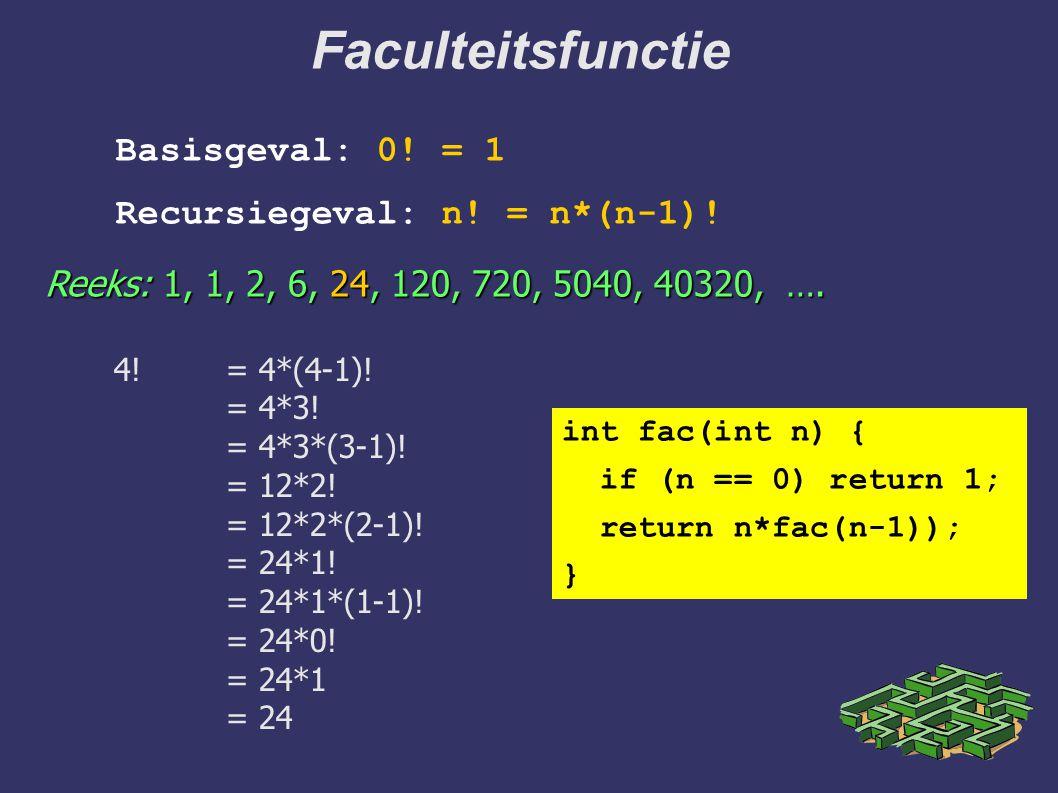 Faculteitsfunctie Basisgeval: 0! = 1 Recursiegeval: n! = n*(n-1)!
