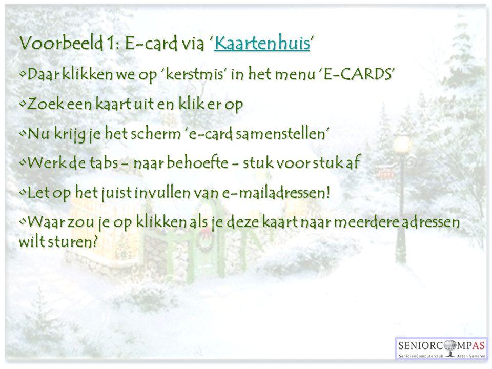 Voorbeeld 1: E-card via 'Kaartenhuis'
