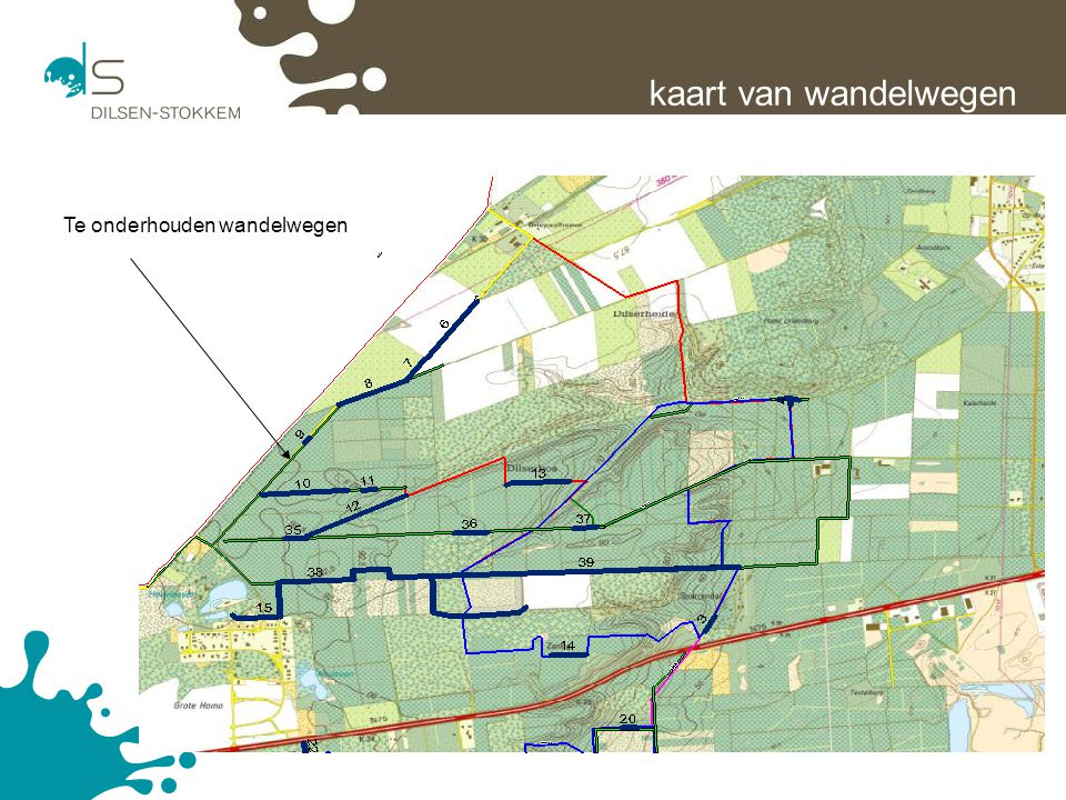 kaart van wandelwegen Te onderhouden wandelwegen