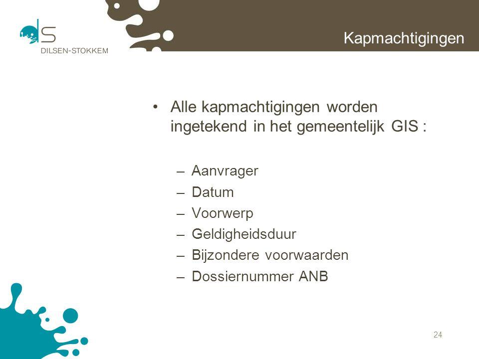 Alle kapmachtigingen worden ingetekend in het gemeentelijk GIS :