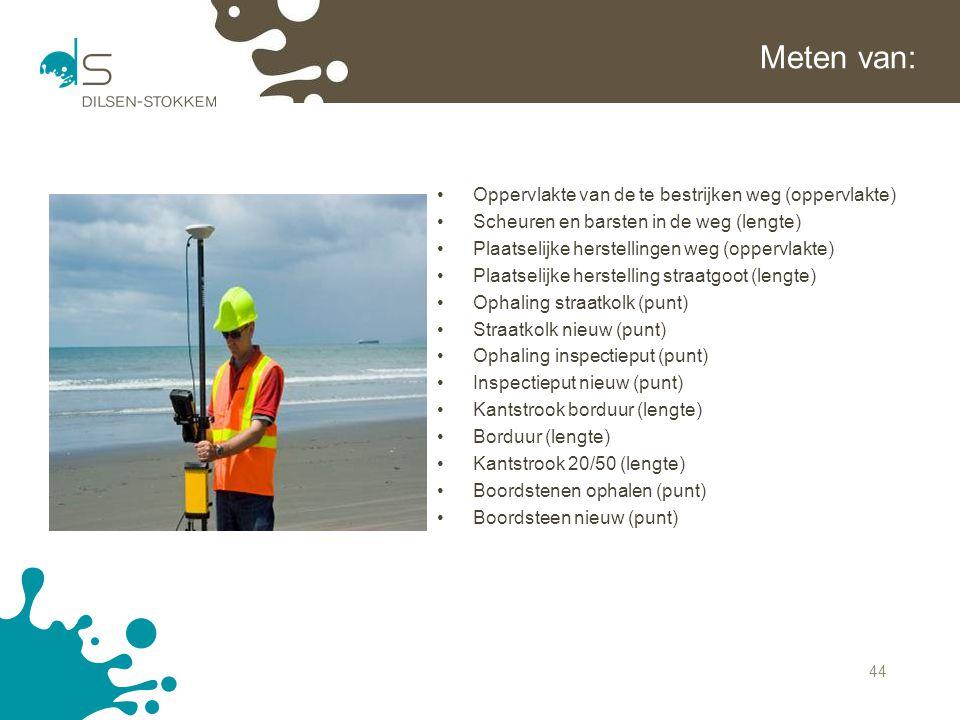 Meten van: Oppervlakte van de te bestrijken weg (oppervlakte)