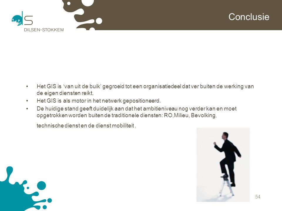 Conclusie Het GIS is 'van uit de buik' gegroeid tot een organisatiedeel dat ver buiten de werking van de eigen diensten reikt.
