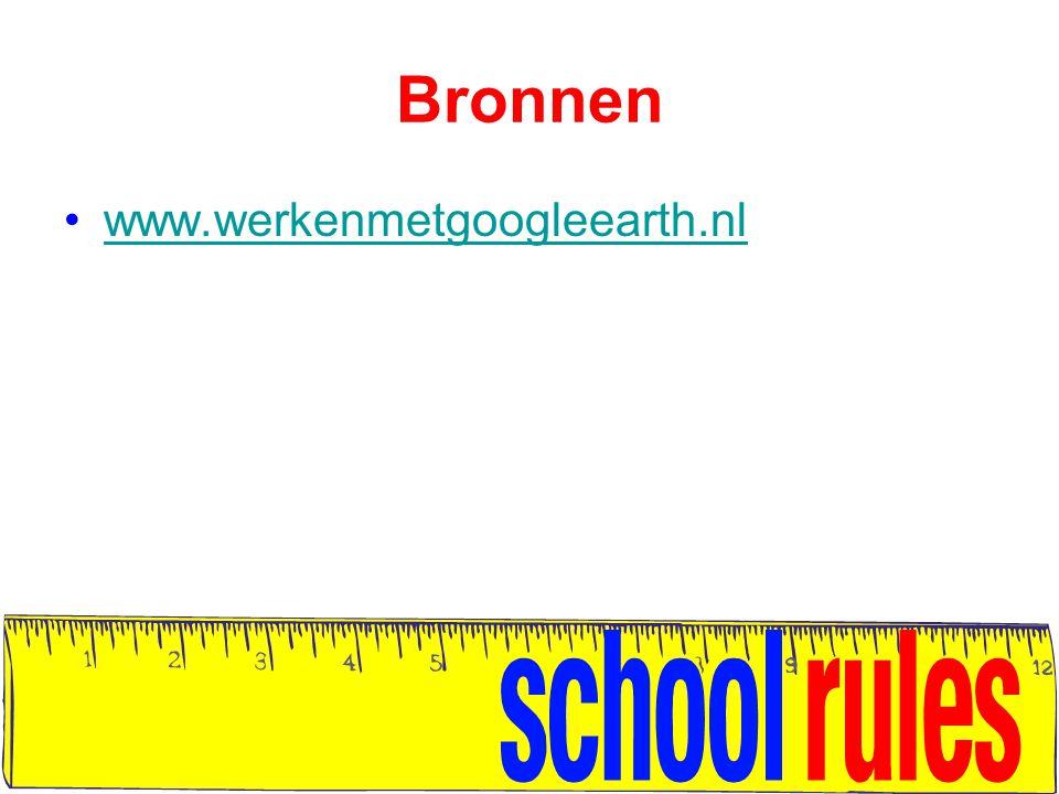 Bronnen www.werkenmetgoogleearth.nl