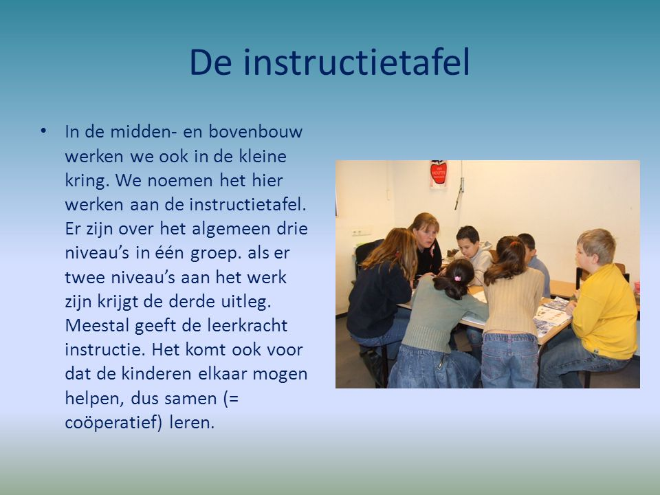 De instructietafel