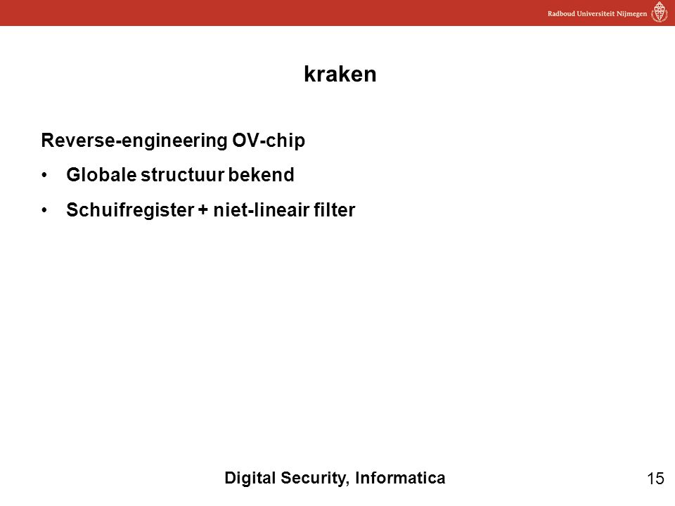 kraken Reverse-engineering OV-chip Globale structuur bekend