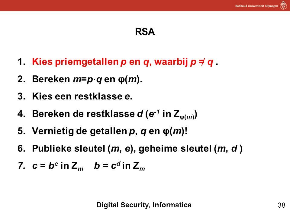 RSA Kies priemgetallen p en q, waarbij p ≠ q . Bereken m=p⋅q en φ(m). Kies een restklasse e. Bereken de restklasse d (e-1 in Zφ(m))