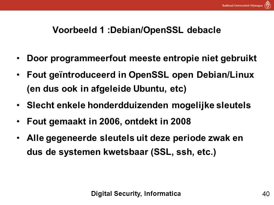 Voorbeeld 1 :Debian/OpenSSL debacle