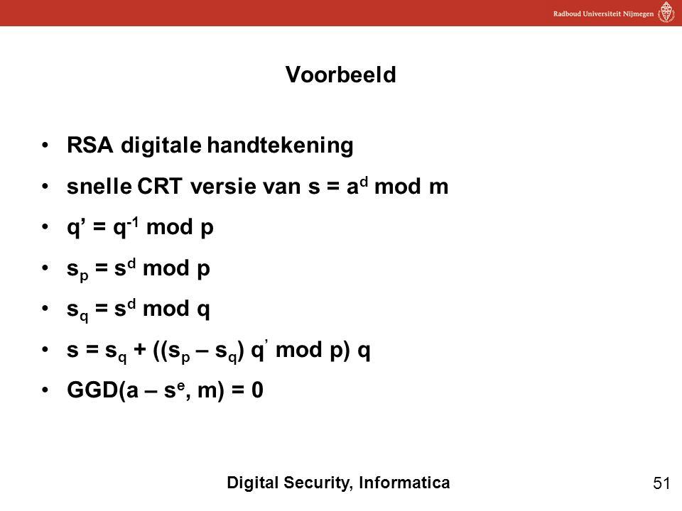Voorbeeld RSA digitale handtekening. snelle CRT versie van s = ad mod m. q' = q-1 mod p. sp = sd mod p.