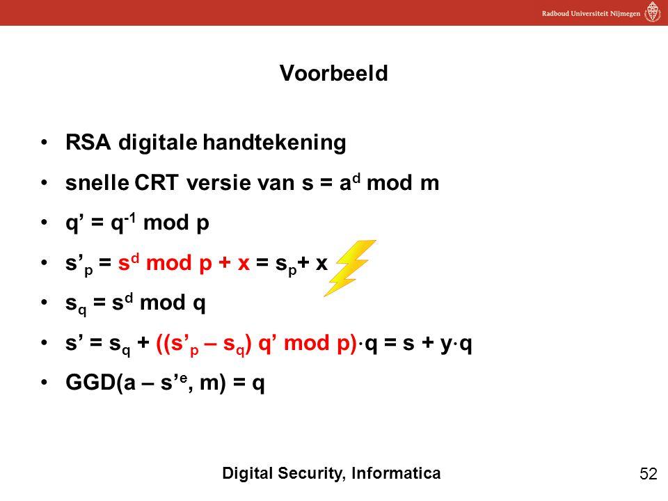 RSA digitale handtekening snelle CRT versie van s = ad mod m