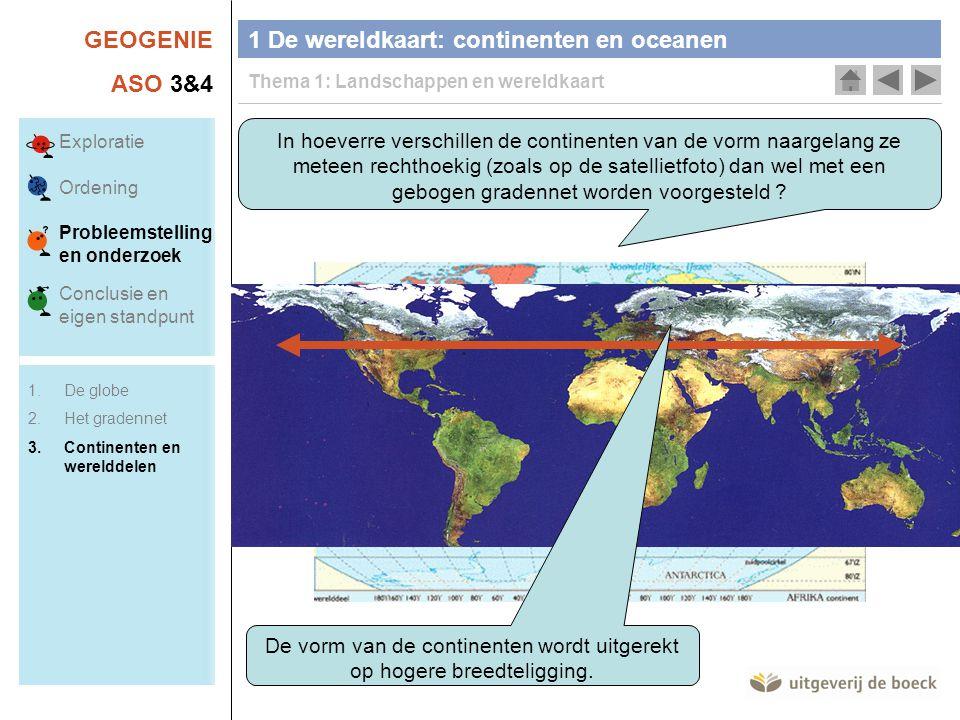 De vorm van de continenten wordt uitgerekt op hogere breedteligging.