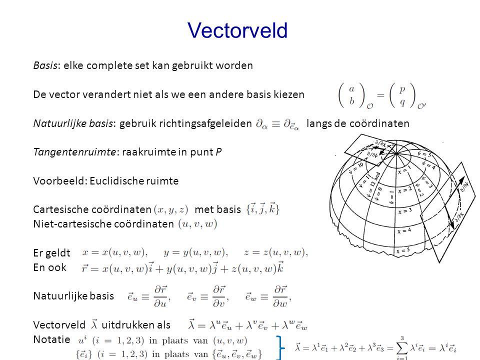 Vectorveld Basis: elke complete set kan gebruikt worden