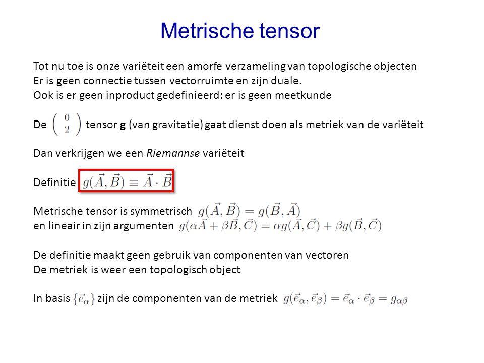 Metrische tensor Tot nu toe is onze variëteit een amorfe verzameling van topologische objecten.