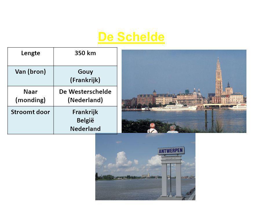 De Schelde Lengte 350 km Van (bron) Gouy (Frankrijk) Naar (monding)