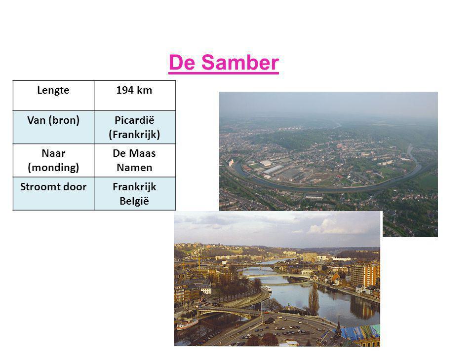 De Samber Lengte 194 km Van (bron) Picardië (Frankrijk) Naar (monding)
