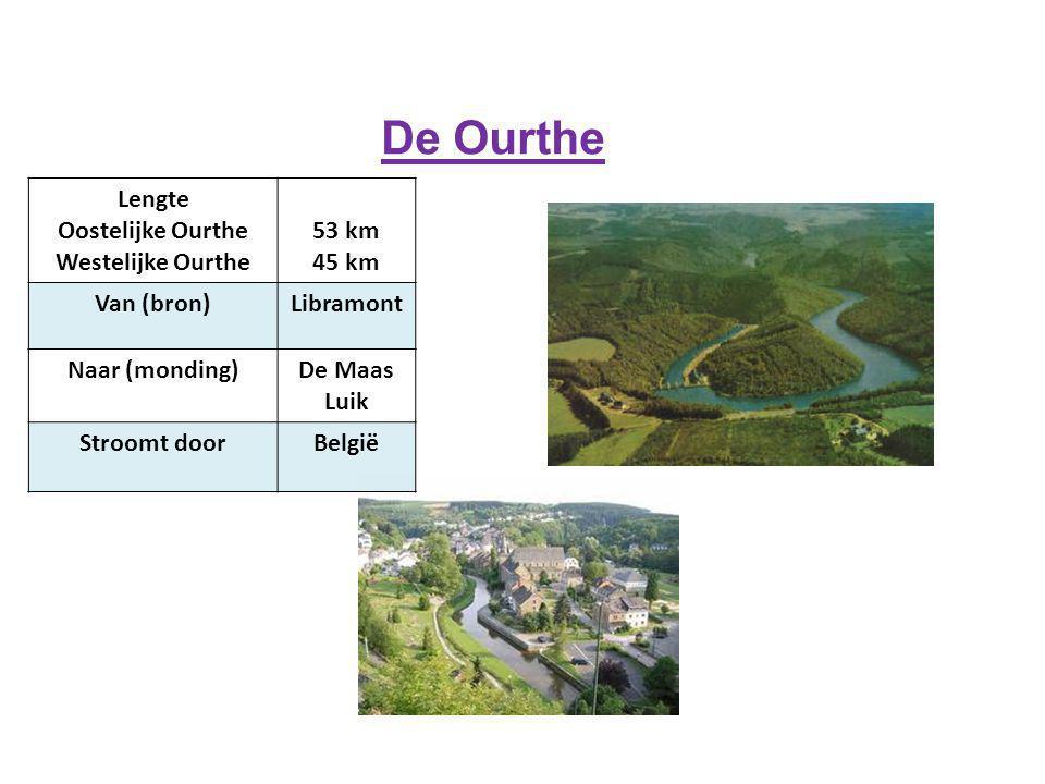 De Ourthe Lengte Oostelijke Ourthe Westelijke Ourthe 53 km 45 km