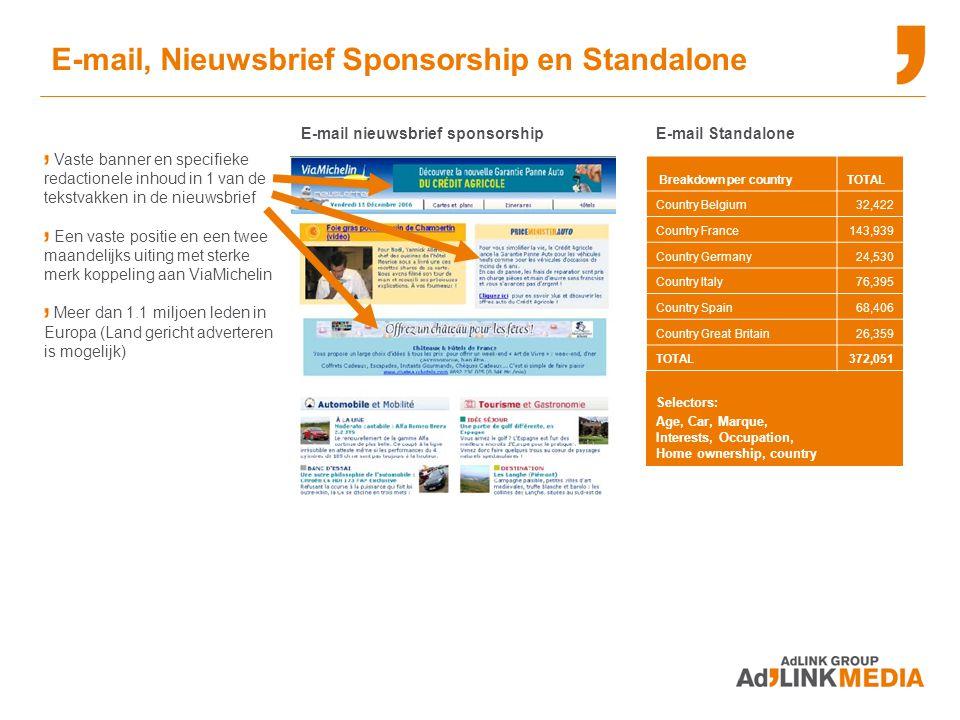 E-mail, Nieuwsbrief Sponsorship en Standalone