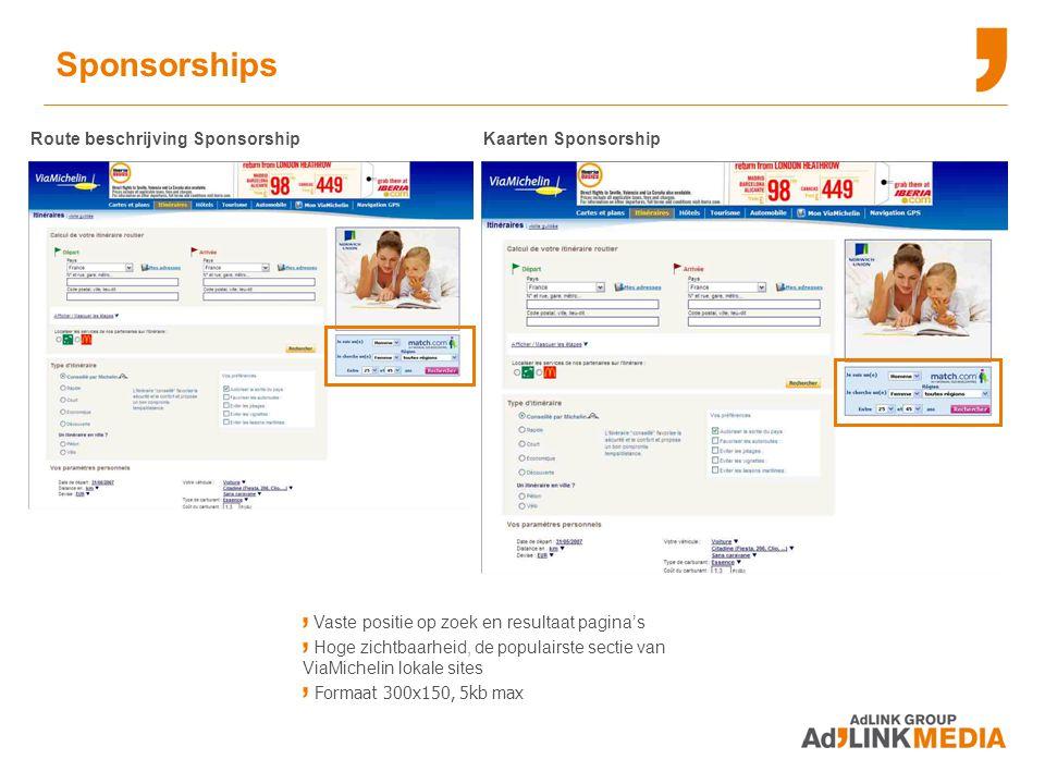 Sponsorships Route beschrijving Sponsorship Kaarten Sponsorship