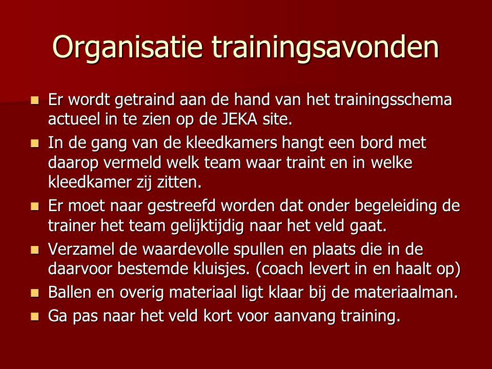 Organisatie trainingsavonden