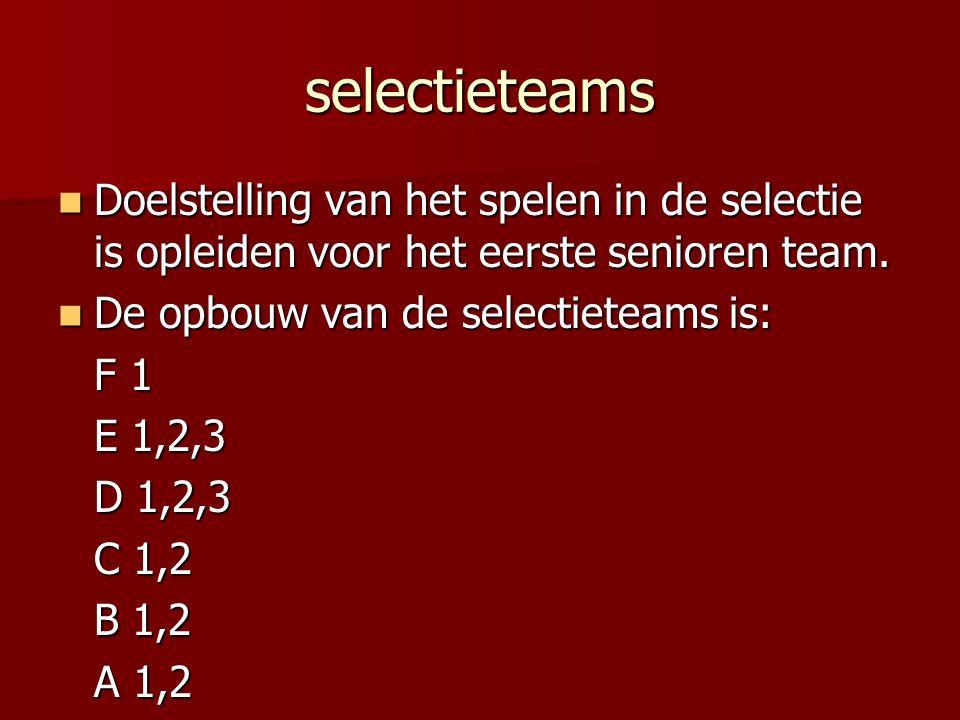 selectieteams Doelstelling van het spelen in de selectie is opleiden voor het eerste senioren team.