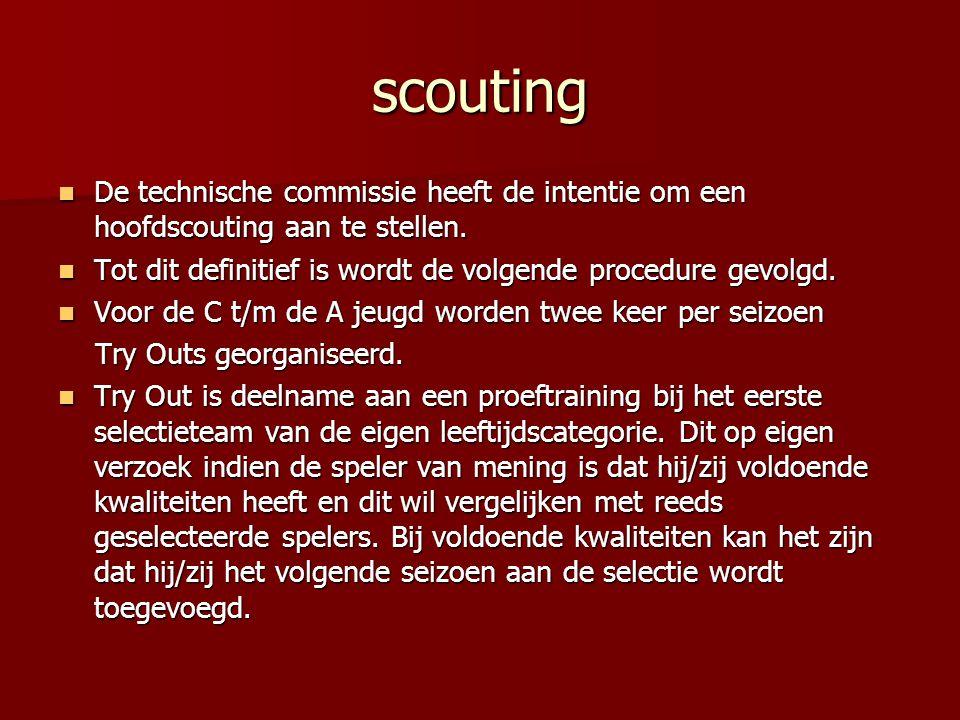 scouting De technische commissie heeft de intentie om een hoofdscouting aan te stellen. Tot dit definitief is wordt de volgende procedure gevolgd.