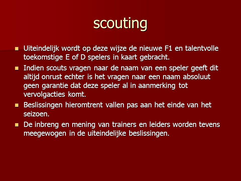 scouting Uiteindelijk wordt op deze wijze de nieuwe F1 en talentvolle toekomstige E of D spelers in kaart gebracht.