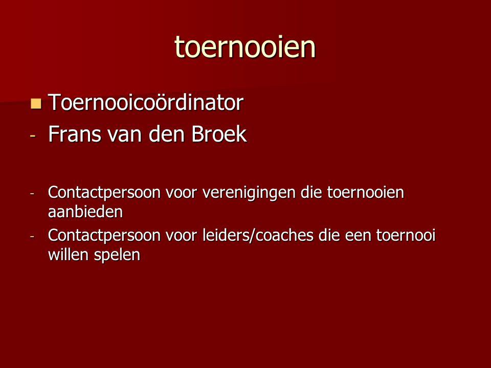 toernooien Toernooicoördinator Frans van den Broek