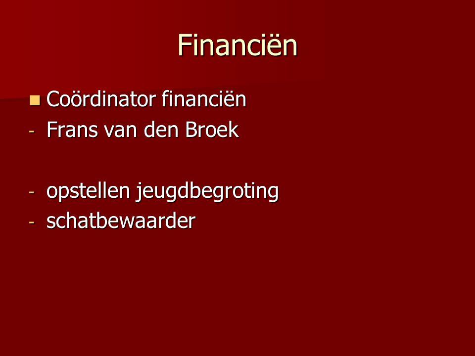 Financiën Coördinator financiën Frans van den Broek