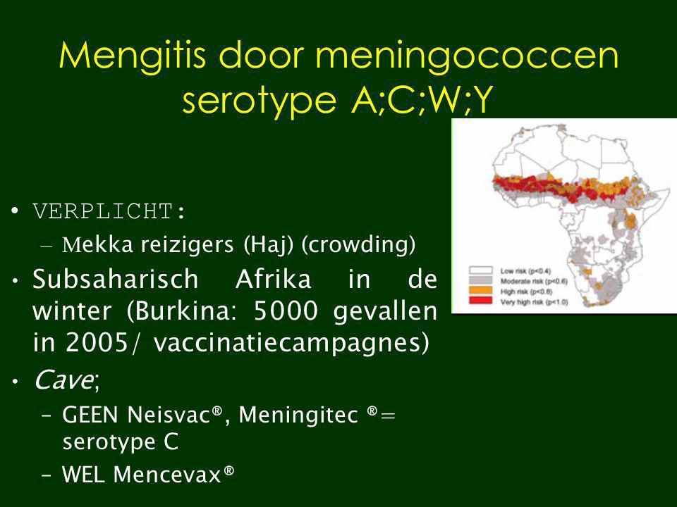 Mengitis door meningococcen serotype A;C;W;Y