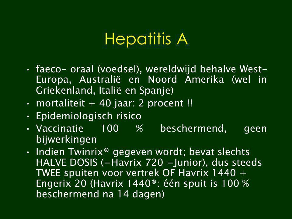 Hepatitis A faeco- oraal (voedsel), wereldwijd behalve West-Europa, Australië en Noord Amerika (wel in Griekenland, Italië en Spanje)