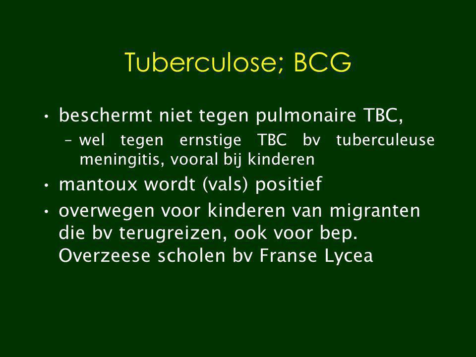 Tuberculose; BCG beschermt niet tegen pulmonaire TBC,