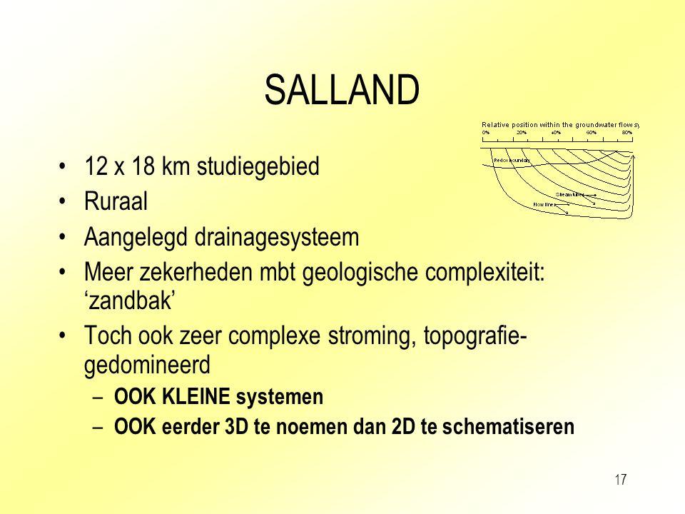 SALLAND 12 x 18 km studiegebied Ruraal Aangelegd drainagesysteem