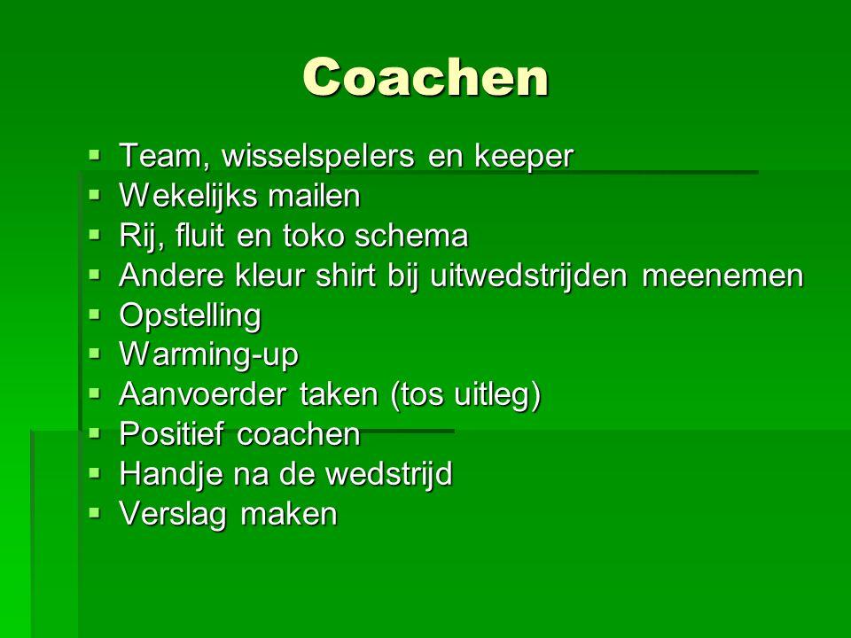 Coachen Team, wisselspelers en keeper Wekelijks mailen