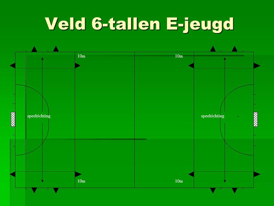 Veld 6-tallen E-jeugd . speelrichting 10m