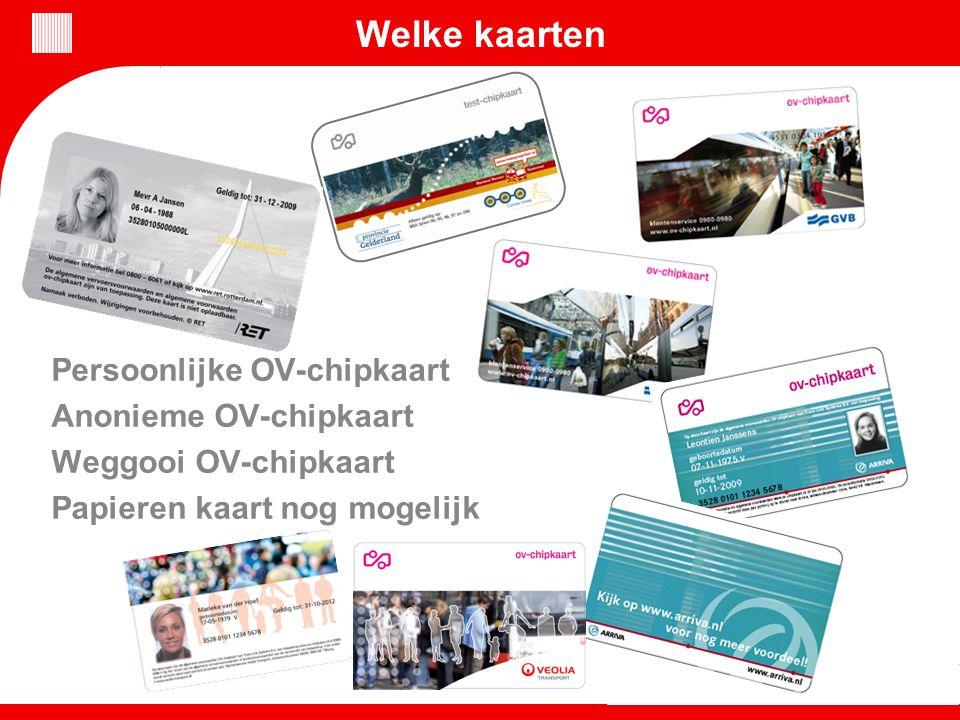 Welke kaarten Persoonlijke OV-chipkaart Anonieme OV-chipkaart