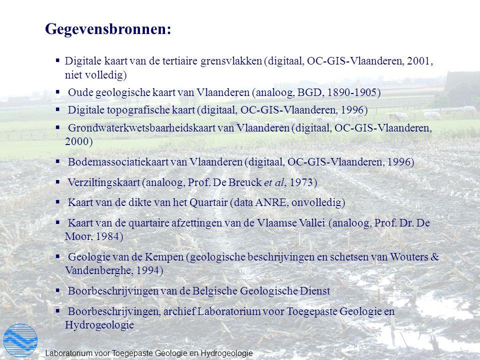 Gegevensbronnen: Digitale kaart van de tertiaire grensvlakken (digitaal, OC-GIS-Vlaanderen, 2001, niet volledig)