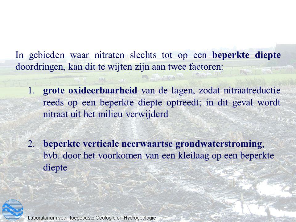 In gebieden waar nitraten slechts tot op een beperkte diepte doordringen, kan dit te wijten zijn aan twee factoren: