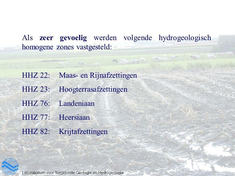 Als zeer gevoelig werden volgende hydrogeologisch homogene zones vastgesteld: