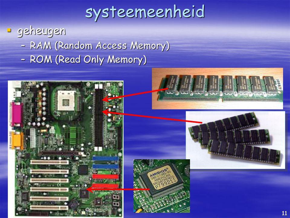 systeemeenheid geheugen RAM (Random Access Memory)