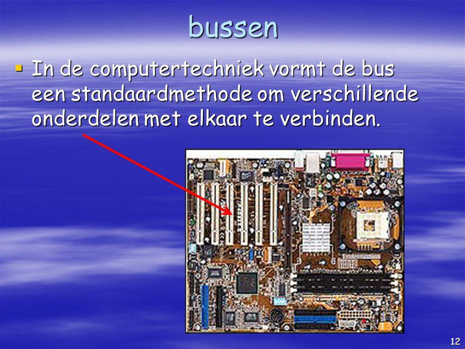 bussen In de computertechniek vormt de bus een standaardmethode om verschillende onderdelen met elkaar te verbinden.
