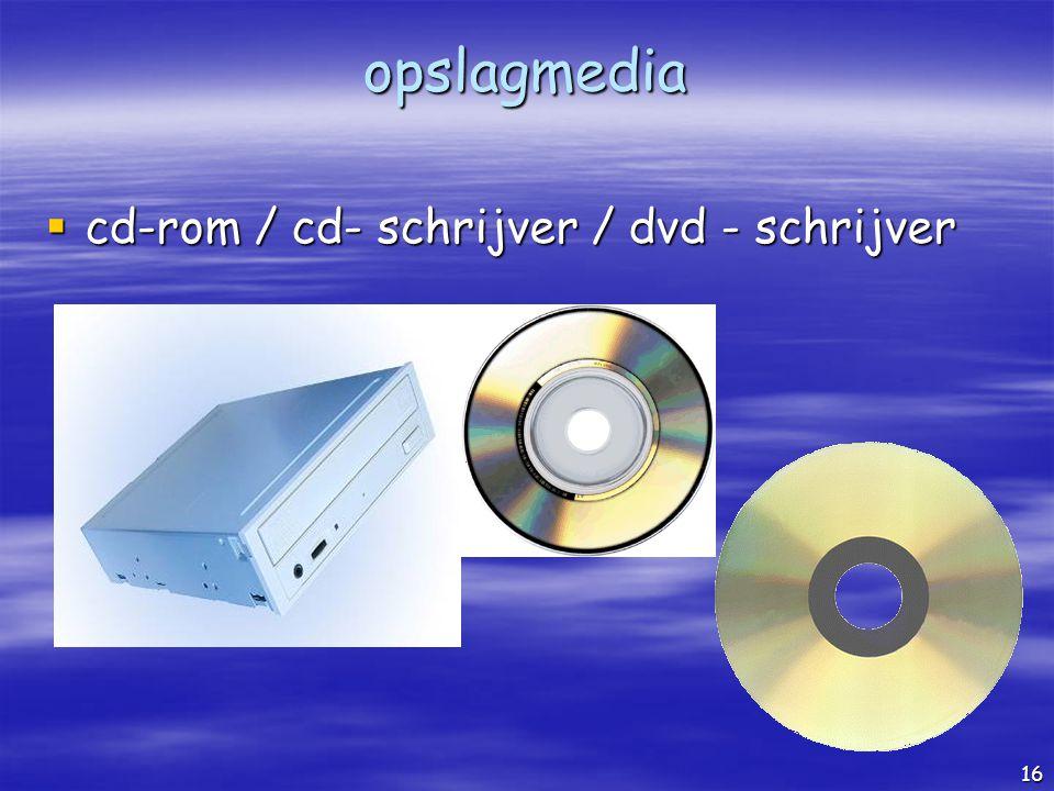 opslagmedia cd-rom / cd- schrijver / dvd - schrijver