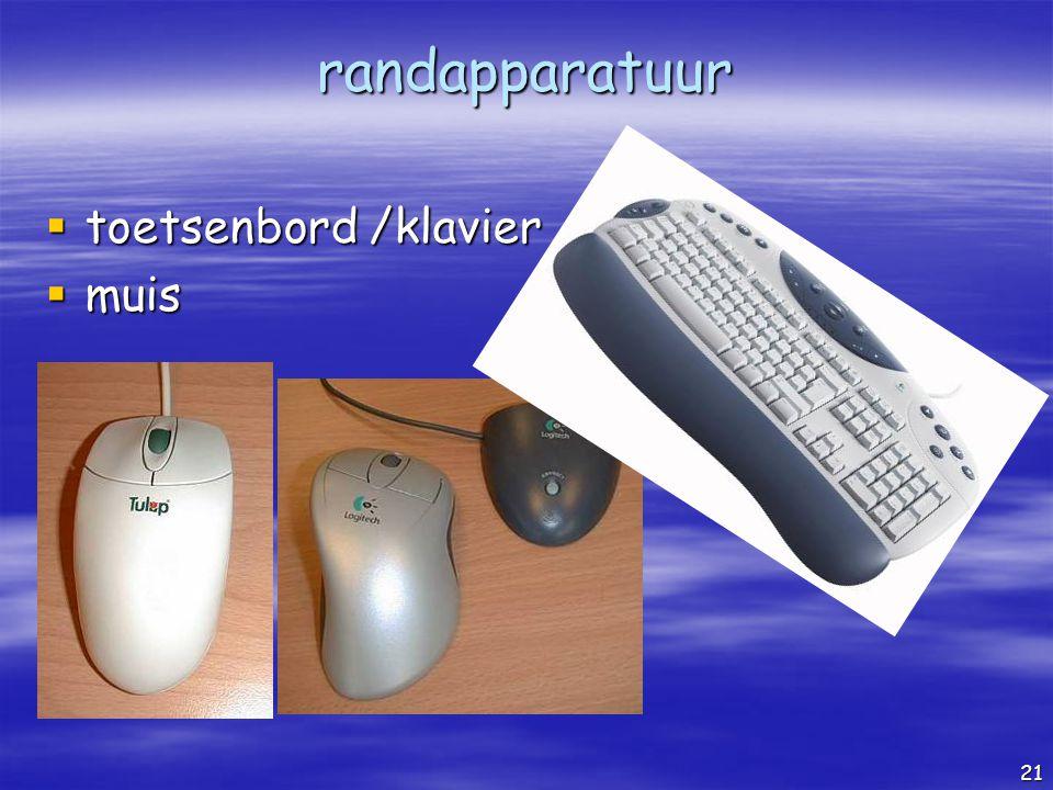 randapparatuur toetsenbord /klavier muis De muis De gewone muis