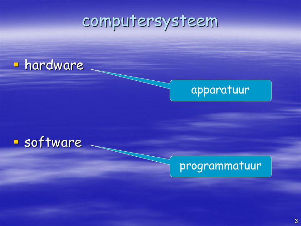 computersysteem hardware software apparatuur programmatuur
